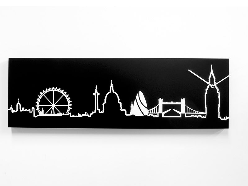 Wall clock in black colour wood, London skyline