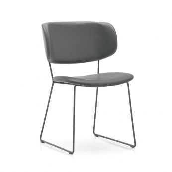 CS1483 Claire M - Chair in varnished metal, with imitation leather seat, grey colour