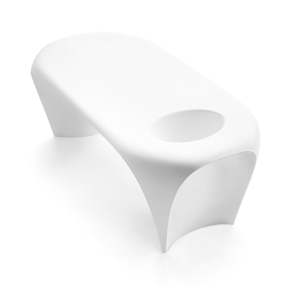 Coffee table made of Poleasy®, in white colour, also for outdoor