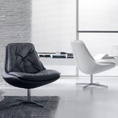 Daya - Bontempi Casa swivel armchair, in metal with padded seat, removable covering available with different coverings