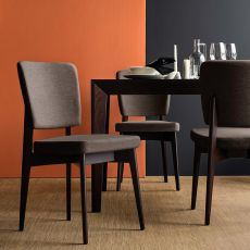 CB1526 Escudo - Connubia - Calligaris wooden chair with padded seat covered with imitation leather or fabric