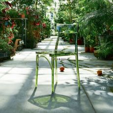 Milano 2015 - Stackable chair by Colico, in transparent polycarbonate, several colours available, also for outdoor