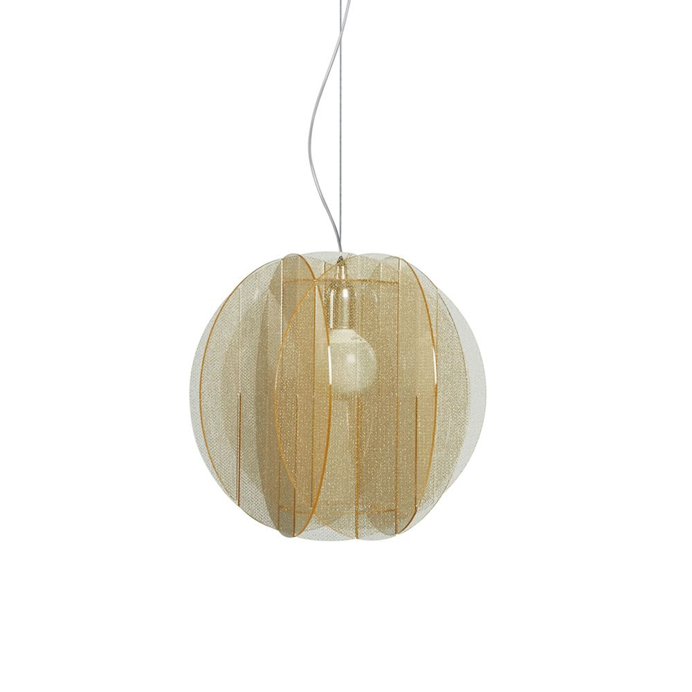 Pendant lamp made of methacrylate in texturgold colour (size: M)