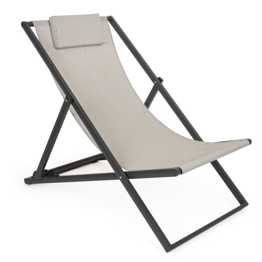 Deck chair in aluminum and textilene, adjustable in 3 positions