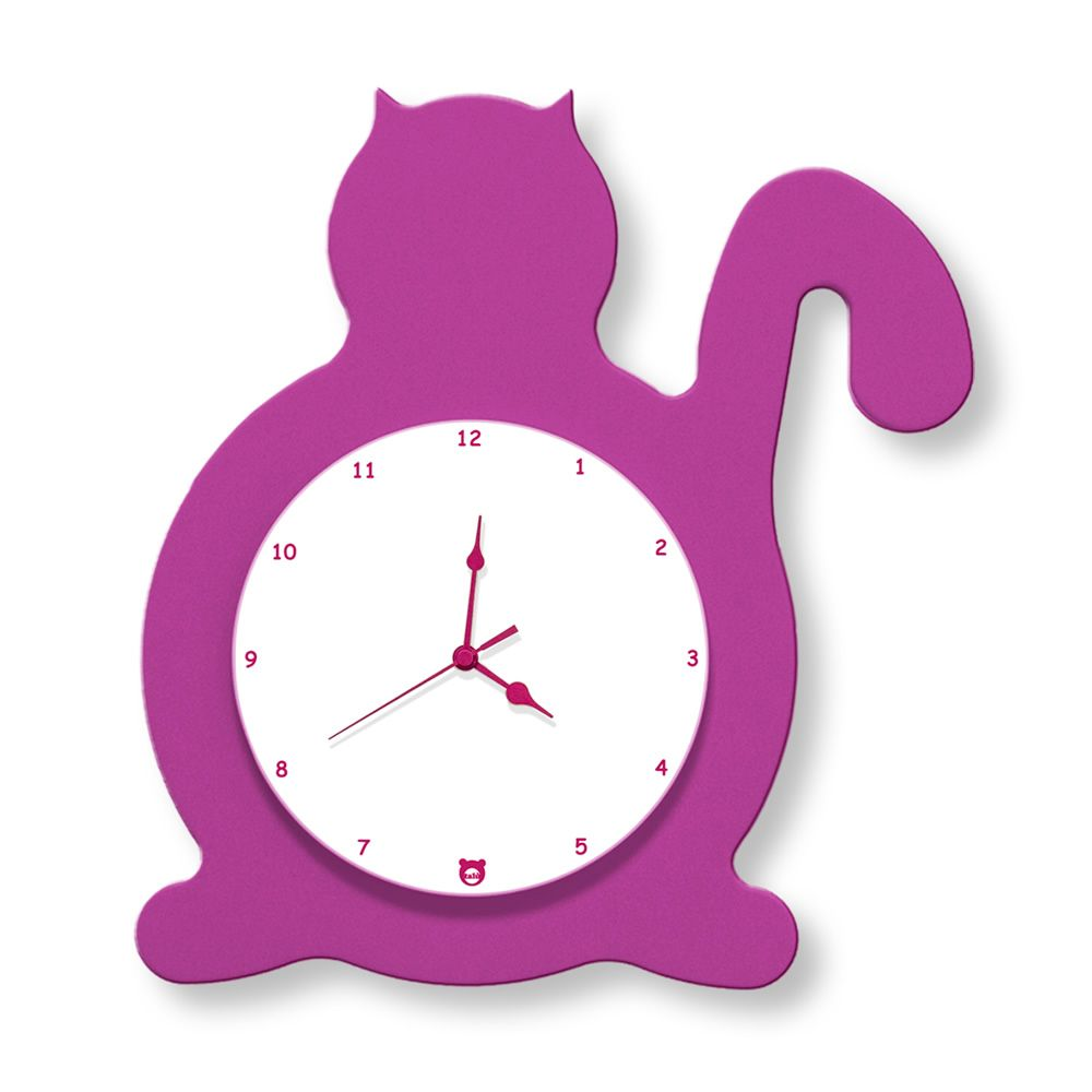 Wall clock in fuchsia lacquered MDF wood