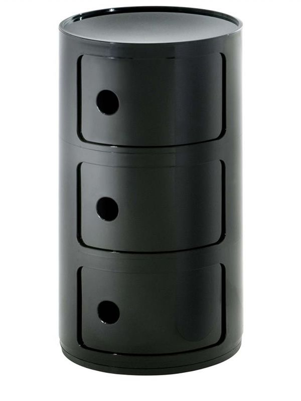 Design Kartell container equipped with three drawers, black colour