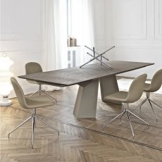 Fiandre Ext - Design table Bontempi Casa, in metal with 160x90 cm extendible top, available in several finishes