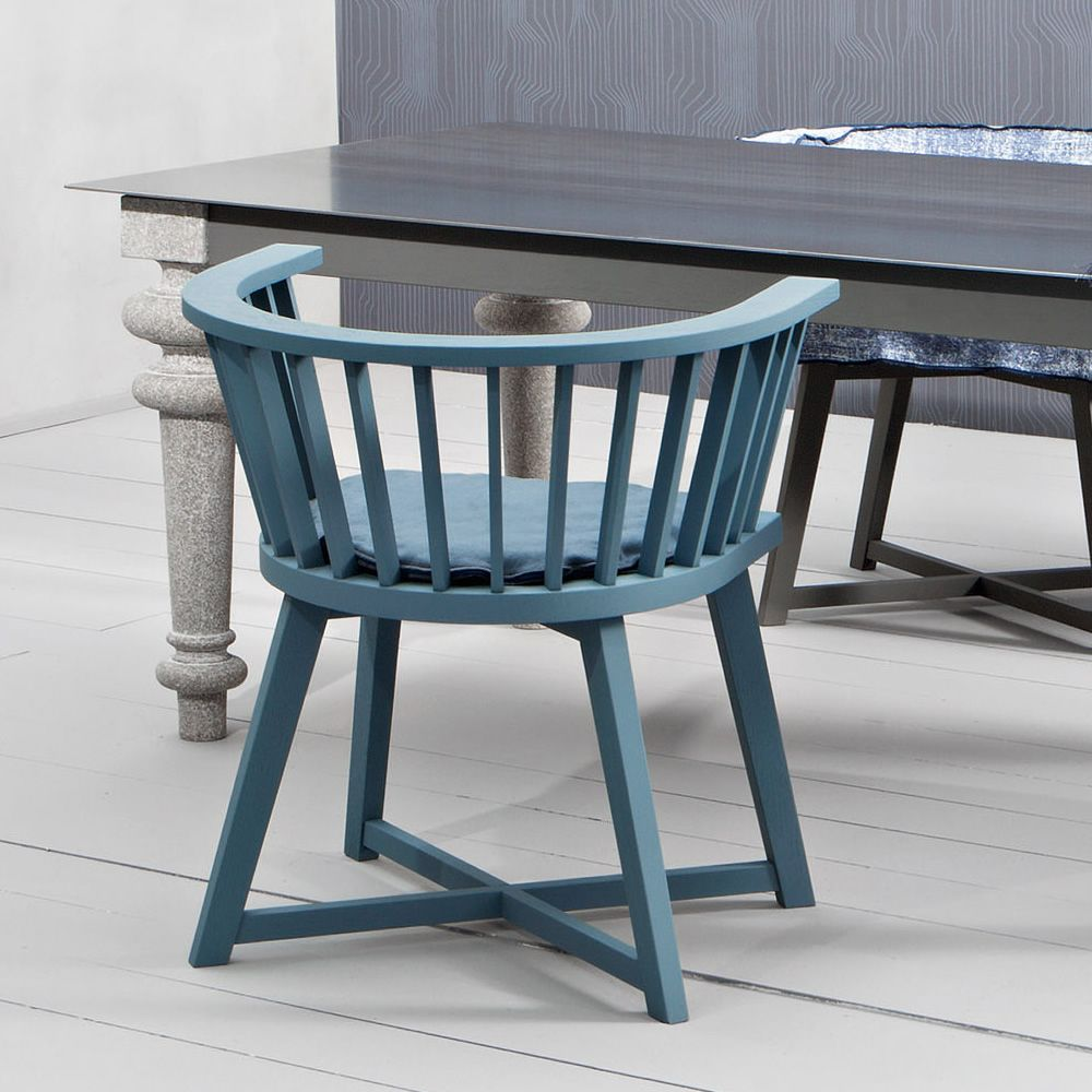 Chair in Air Force blue lacquered wood, with cushion (upon request)