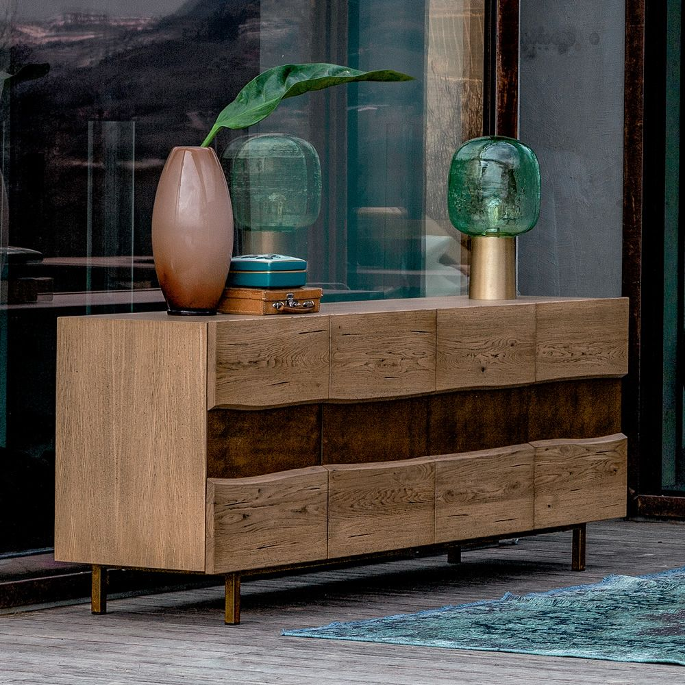 Sideboard made of wood in natural Holand finish, insert and feet in bronze iron