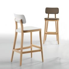 Porta Venezia Stool - Infiniti wooden stool, seat in polypropylene, fabric, leather or imitation leather, different colours and heights, seat height 67 cm