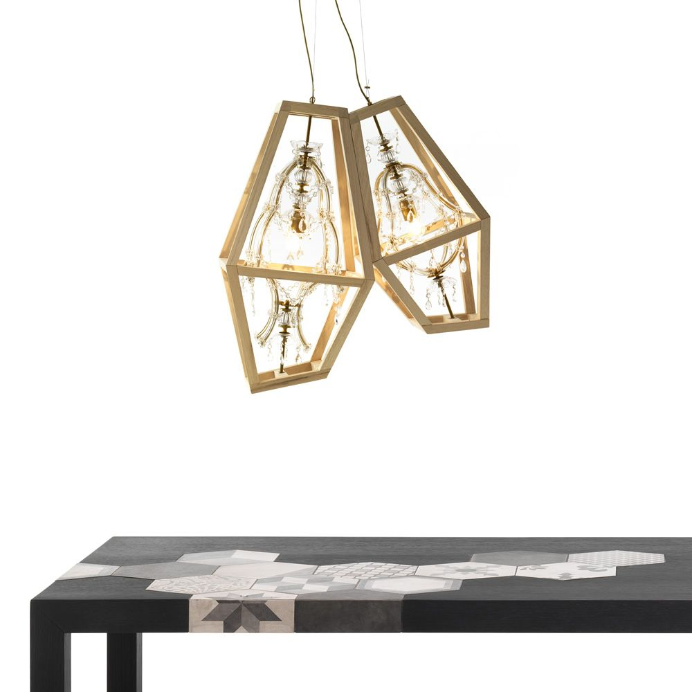 Pendant and table lamp, made of crystal with a wooden frame, matched with Cementino table