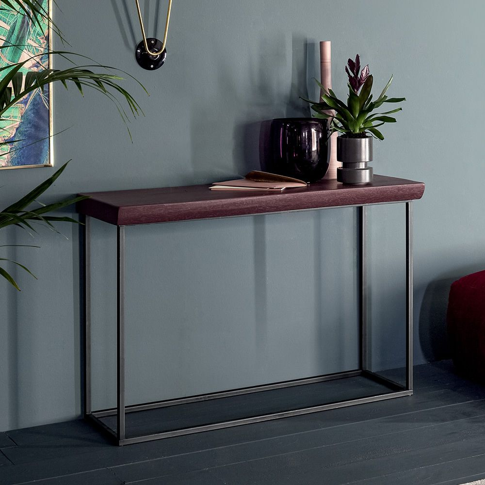 Console in grey iron, with bordeaux lacquered wooden top