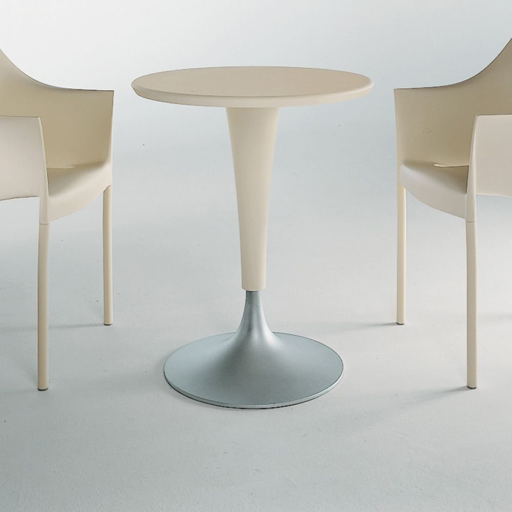 Kartell side table with top in Wax white (ivory) colour