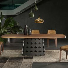 Pois 8083FM - Tonin Casa fixed metal table, with wooden top, available in different dimensions