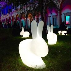 Rabbit Lamp Outdoor LED - Qeeboo rabbit shaped garden lamp, in polyethylene,with RGB LED light bulb, rechargeable, also for the garden