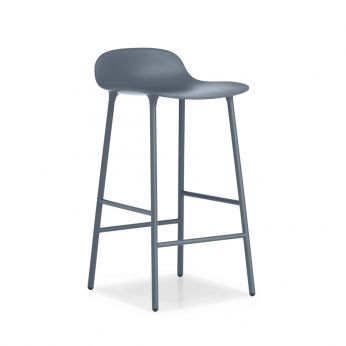Form-SG - Stool made of lacquered metal with polypropylene seat, blue version