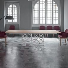Majesty RA - Table design de Bontempi Casa, en métal avec plateau 190x106 cm, disponible en différentes finitions
