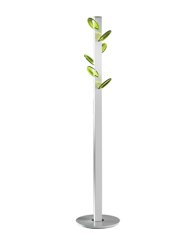Coat-stand with white varnished steel structure, green hooks