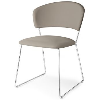 CB1527 Atlantis - Chromed metal chair with dove-grey imitation leather covering