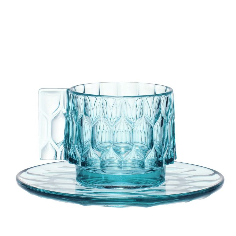 Coffee cups collections by Kartell, light blue colour