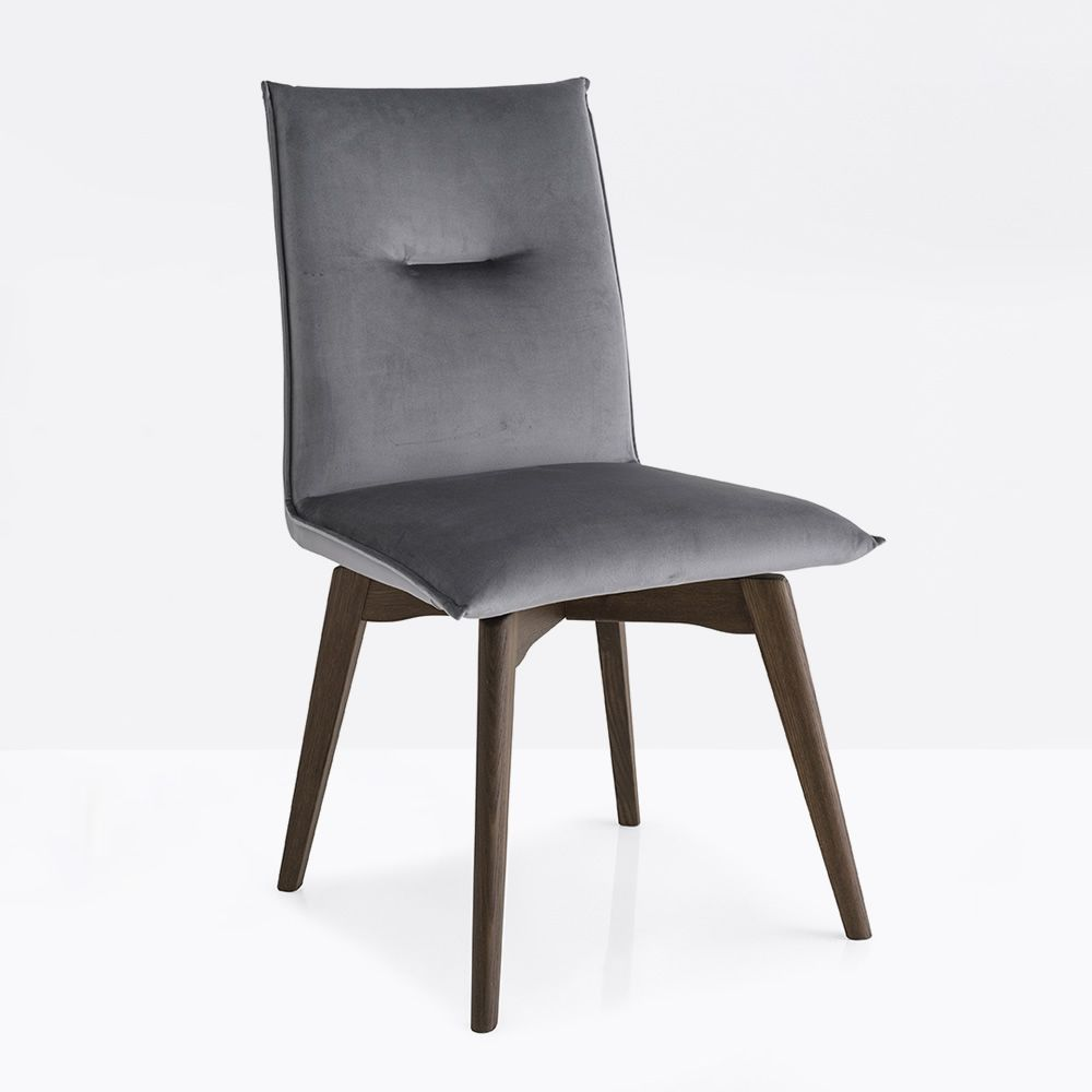 Chair in smoke stained wood, seat covered with Venice fabric, in cinder grey colour