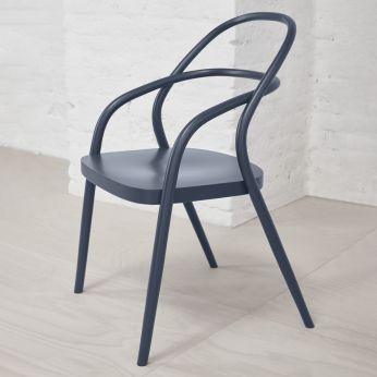 Chair 002 - Design chair in ocean blue lacquered beech wood