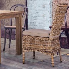 Antigua - Chair in synthetic rattan, with cushion, for garden