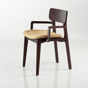 Cacao Soft - Chair in walnut colour varnished ash wood, with padded seat et armrests