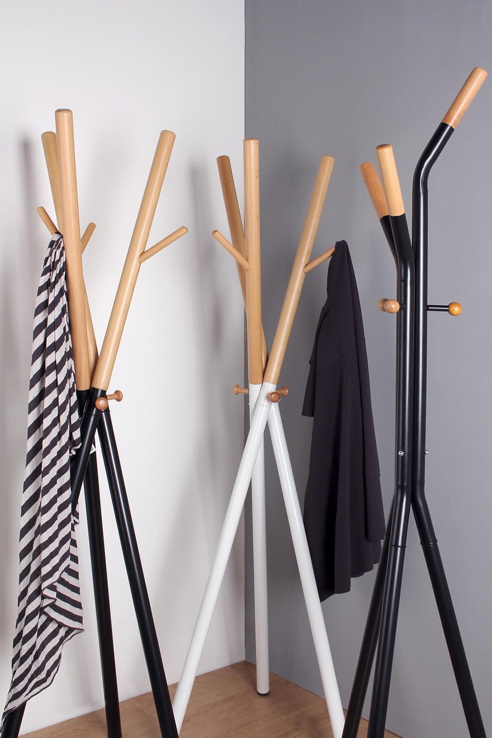 Wooden and white and black varnished metal coat rack