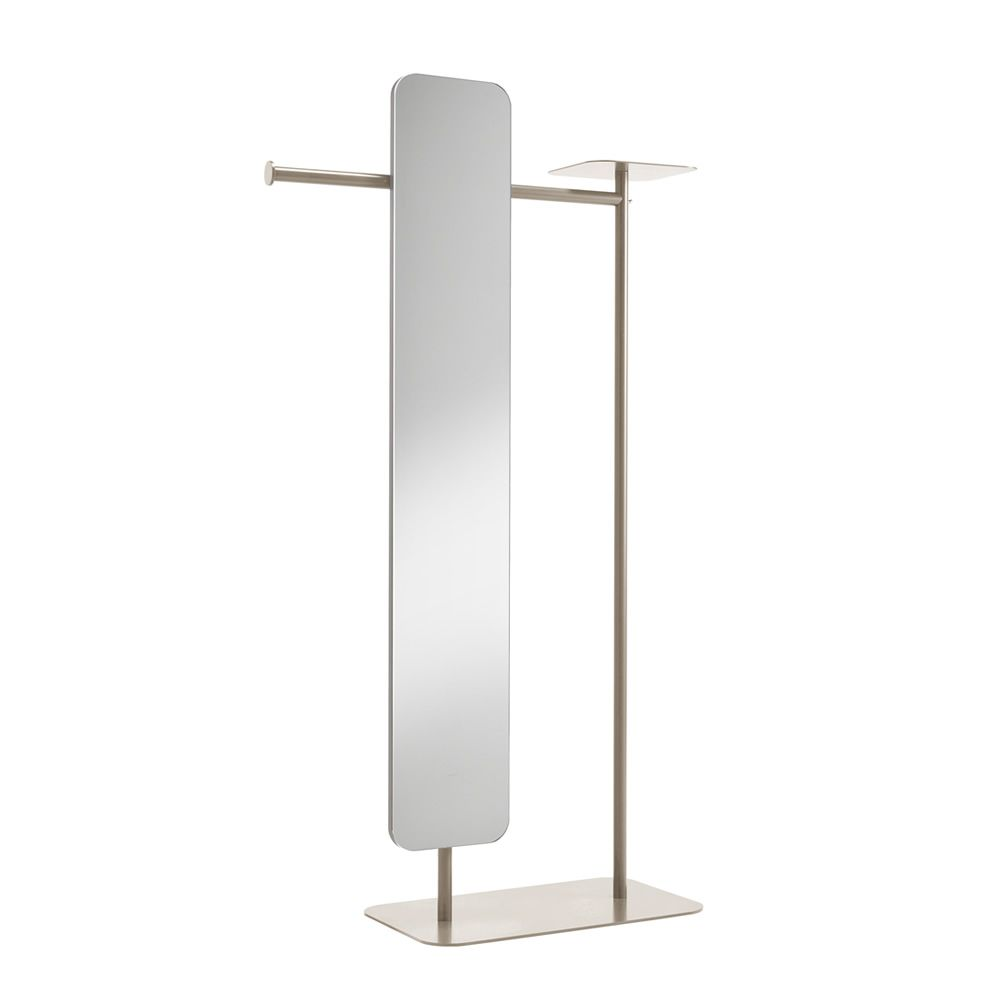 Varnished metal valet stand, light grey colour, with mirror, L model