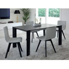 Maxim-160 - Domitalia wooden table, top in ceramic, glass or wood, 160 x 90 cm extendable