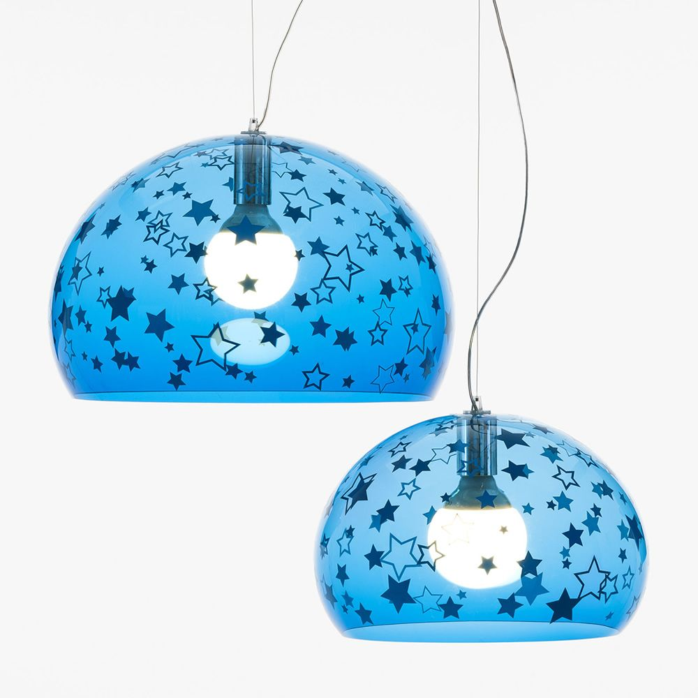 Design Kartell suspension lamp, light blue stars, L and S size