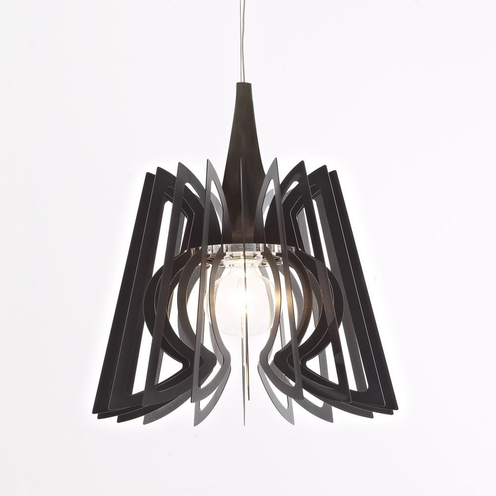 Suspension lamp in anthracite grey steel