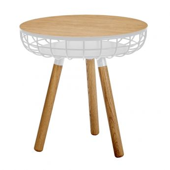 Cesta - Coffe table in wood and white varnished metal, high model