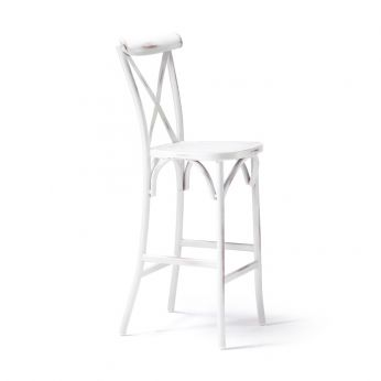TT974 - Vienna style stool made of varnished aluminium, in old-looking white colour