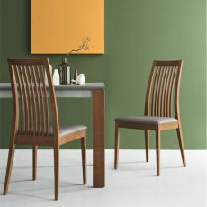 CB1432 Ikeda NT - Connubia - Calligaris wooden chair, padded seat with imitation leather covering