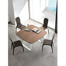 Brenta 8057 - Tonin Casa fixed metal table, wooden top 133 x 133 cm, different finishes available