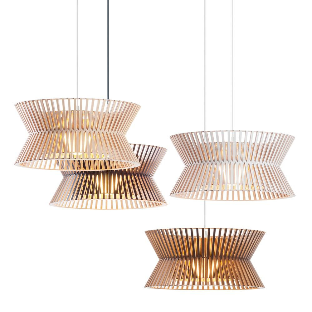Suspension lamps in wood