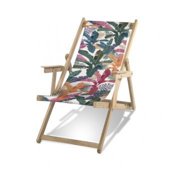Transat B - Pôdevache folding deckchair in pronted polyesther fabric, Rainbow Flowers pattern