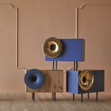 Caruso - Miniforms sideboard, with 2 doors, in wood with giant ceramic horn