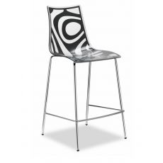 Wave S 2541 - Metal and technopolymer stool, seat at 65 cm, available in different colours