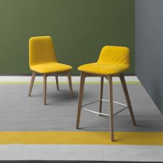 CS1488 Sami - Calligaris wooden stool, seat covered with fabric, seat height 65 cm