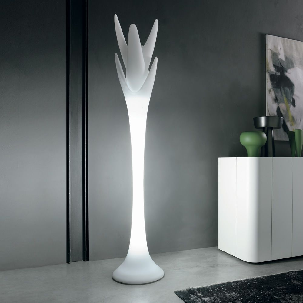 Coat stand made of white polyethylene, with light system
