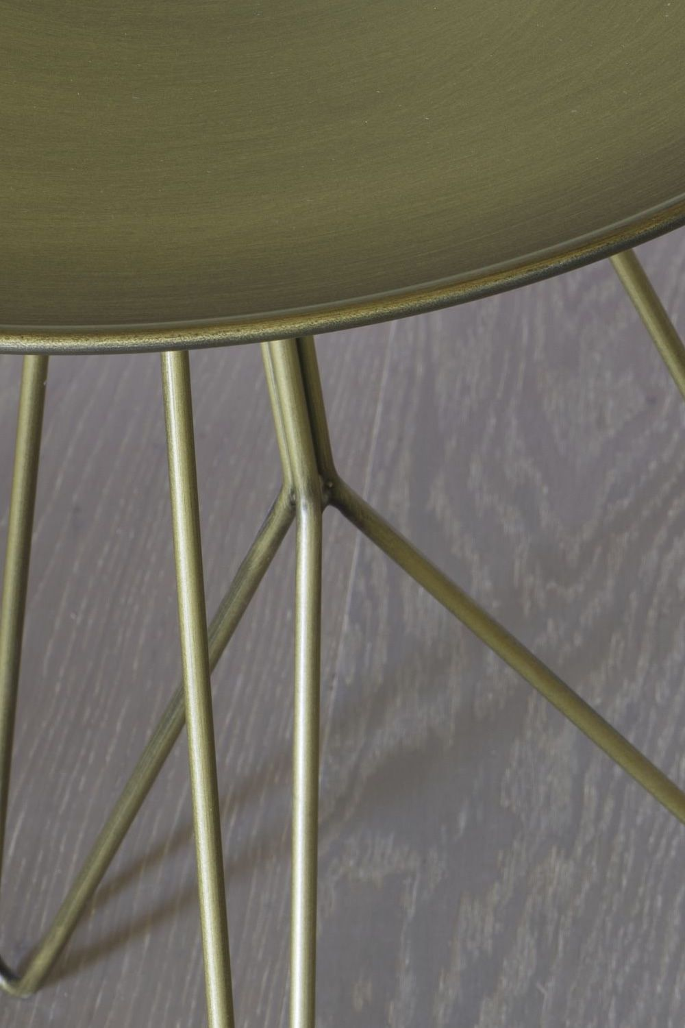 Metal coffee table in bronze colour, detail