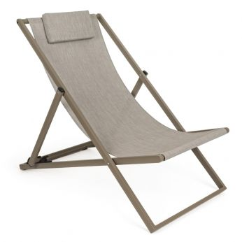 Megan - Deck chair in aluminum and textilene, adjustable in 3 positions