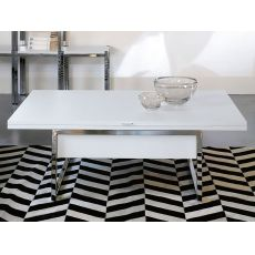 Didone R - Transformable coffee table made of metal, with wooden top, 120 x 76 cm