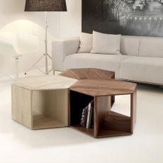 Hexa - Design wooden coffee or bedside table, available in different essences
