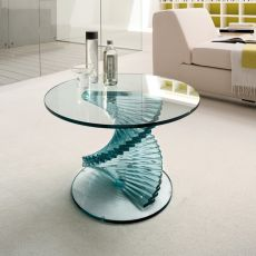 Ariel 6814 - Tonin Casa glass coffee table, round top diameter 60 cm, several finishings available