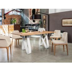 8070-L Butterfly - Tonin Casa fixed wooden table, glass, marble or veneered wooden top, 200 x 100 cm