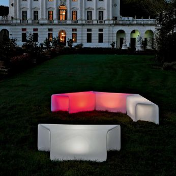 Nova-B - Benches made of Poleasy®, with light system, different luminous colours available, also for outdoor